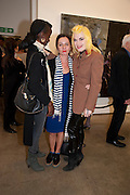 ZOE BEDEAUX; GILLIAN MCVEY; PAM HOGG, David Salle private view at the Maureen Paley Gallery. 21 Herlad St. London. E2. <br /> <br />  , -DO NOT ARCHIVE-&copy; Copyright Photograph by Dafydd Jones. 248 Clapham Rd. London SW9 0PZ. Tel 0207 820 0771. www.dafjones.com.