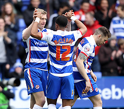 Reading's Pavel Pogrebnyak celebrates his goal with Reading's Garath McCleary - Photo mandatory by-line: Robbie Stephenson/JMP - Mobile: 07966 386802 - 04/04/2015 - SPORT - Football - Reading - Madejski Stadium - Reading v Cardiff City - Sky Bet Championship