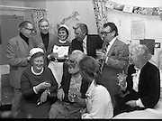 Noel Purcell Celebrates His 81st Birthday.23.12.1981..12.23.1981..23rd December 1981..Noel Purcell celebrates his 81st birthday in the Adelaide Hospital.Accompanied by his wife Eileen, Noel celebrates his birthday with the nurses and his friends from music and radio.