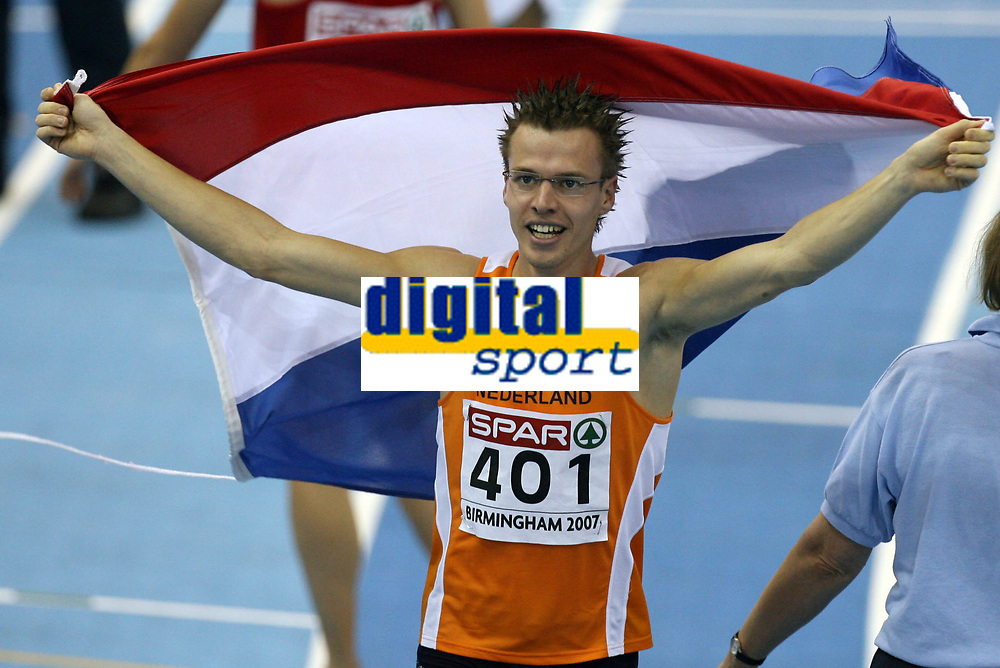 Photo: Rich Eaton.<br /> <br /> EAA European Athletics Indoor Championships, Birmingham 2007. 04/03/2007. Arnoud Okken of Holland wins gold in the mens 800m final