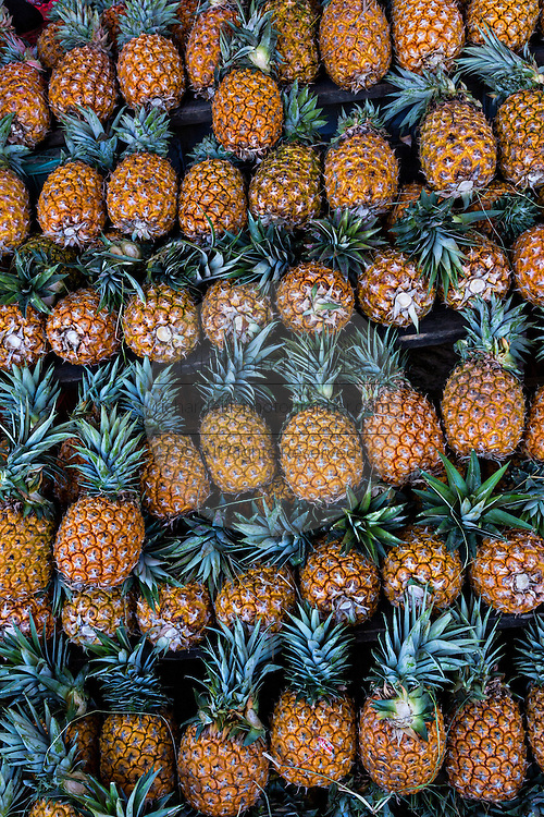 Pineapples at Benito Juarez market in Oaxaca, Mexico.