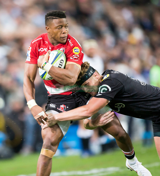 Durban. 300618. Aphiwe Dyantyi during the Super Rugby match between Cell C Sharks and Emirates Lions and at Jonsson Kings Park Stadium on June 30, 2018 in Durban, South Africa. Picture Leon Lestrade. African News Agency/ANA