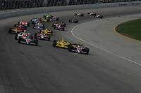 Danica Patrick leads at the start of the Peak Antifreeze Indy 300, Chicagoland Speedway, September 11, 2005