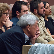 AUGUST 13, 2018---FORT LAUDERDALE, FLORIDA--<br /> Relatives of Pablo Ibar listen to legal arguments during a hearing to schedule his new trial. Candido Ibar, Pablo's father, is in the middle and Paula Ibar, his stepmother is on the left. Ibar has been in jail  for 24 years accused of the murders of a bar owner and two models in his house following a home invasion.<br /> (Photo by Angel Valentin)