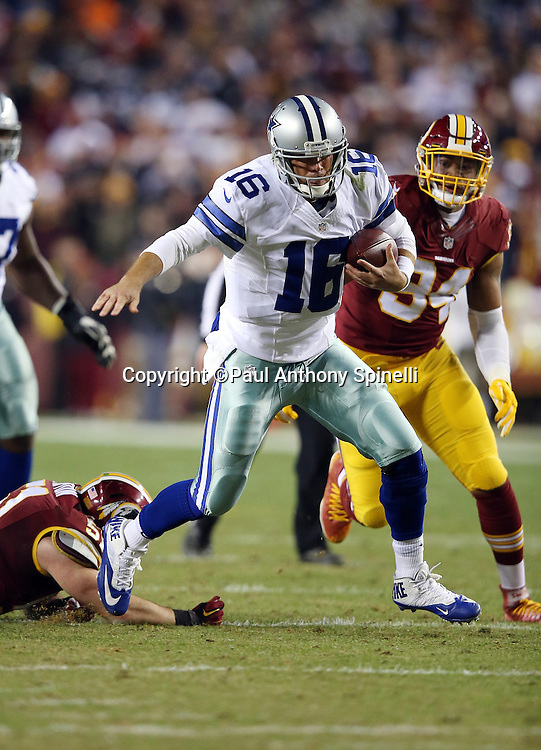 Dallas Cowboys quarterback Matt Cassel (16) runs the ball in the third quarter during the 2015 week 13 regular season NFL football game against the Washington Redskins on Monday, Dec. 7, 2015 in Landover, Md. The Cowboys won the game 19-16. (©Paul Anthony Spinelli)