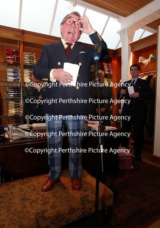 Ronnie Corbett, who officially opened the Golf St Andrews shop, a joint venture between the House of Bruar and the R&amp;A<br /><br />Picture by Graeme Hart.<br />Copyright Perthshire Picture Agency<br />Tel: 01738 623350  Mobile: 07990 594431
