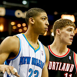 Feb 13, 2013; New Orleans, LA, USA; New Orleans Hornets power forward Anthony Davis (23) and Portland Trail Blazers center Meyers Leonard (11) during the second half of a game at the New Orleans Arena. The Hornets defeated the Trail Blazer 99-63. Mandatory Credit: Derick E. Hingle-USA TODAY Sports