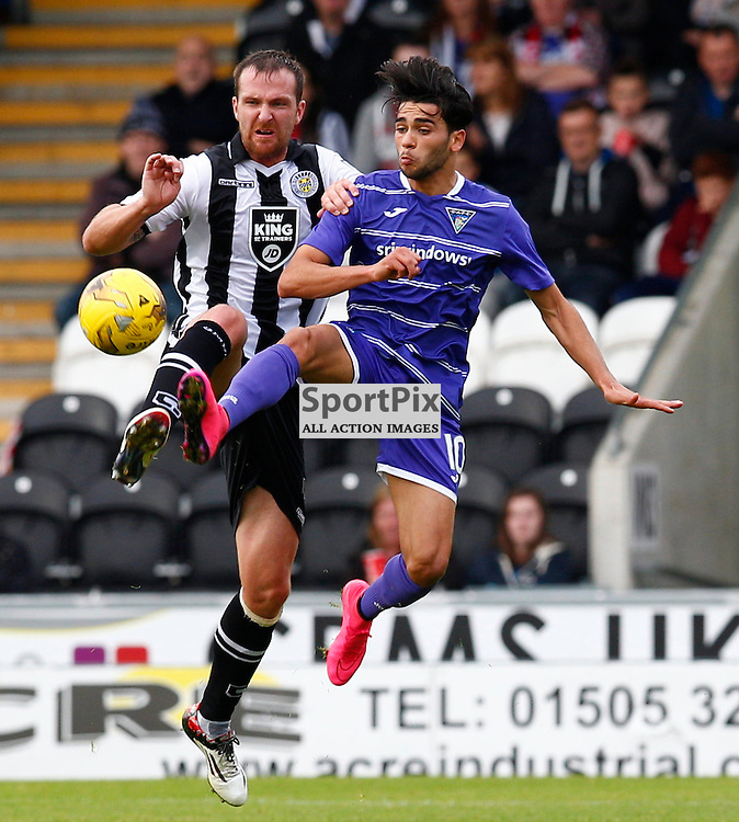 St.Mirren v Dunfermline Athletic, PETROFAC TRAINING CUP 1/4 Final 10th October 2015..Andy Webster and Faissal El Bakhtaoui battle for the ball.....(c) STEPHEN LAWSON | SportPix.org.uk