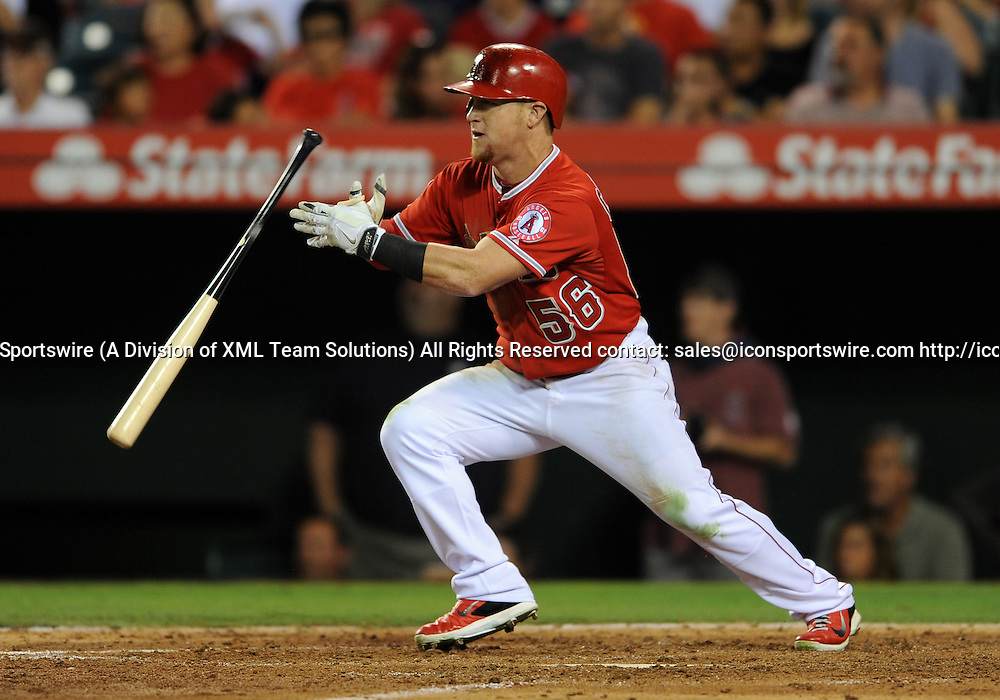 12 Sep. 2014: Los Angeles Angels of Anaheim (56) Kole Calhoun gets a hit in the fifth inning during a game against the Houston Astros played at Angel Stadium of Anaheim