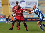 Simon Grix (R) of Halifax RLFC tackles Robert Lui (L) of Salford Red Devils during the Super 8s The Qualifiers match at Mbi Shay Stadium, Halifax<br /> Picture by Stephen Gaunt/Focus Images Ltd +447904 833202<br /> 02/09/2018