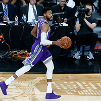 08 October 2017: Sacramento Kings guard Garrett Temple (17) brings the ball up court during the LA Lakers 75-69 victory over the Sacramento Kings, at the T-Mobile Arena, Las Vegas, Nevada, USA.