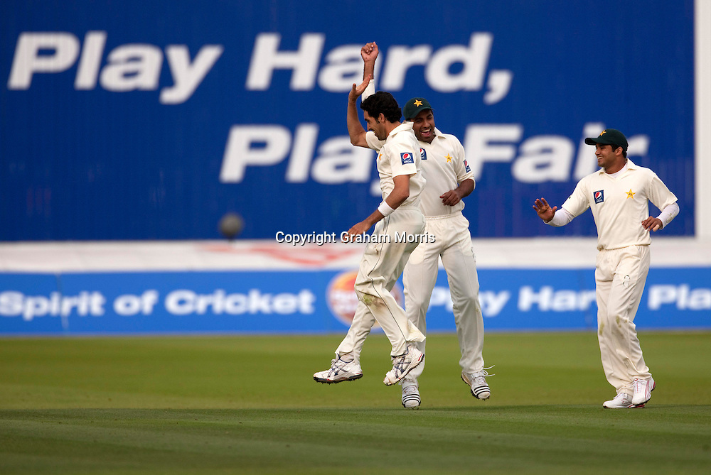 Michael Clarke is bowled by Umar Gul (celebrates, bare-headed) during the MCC Spirit of Cricket Test Match between Pakistan and Australia at Lord's. Photo: Graham Morris (Tel: +44(0)20 8969 4192 Email: sales@cricketpix.com) 14/07/10