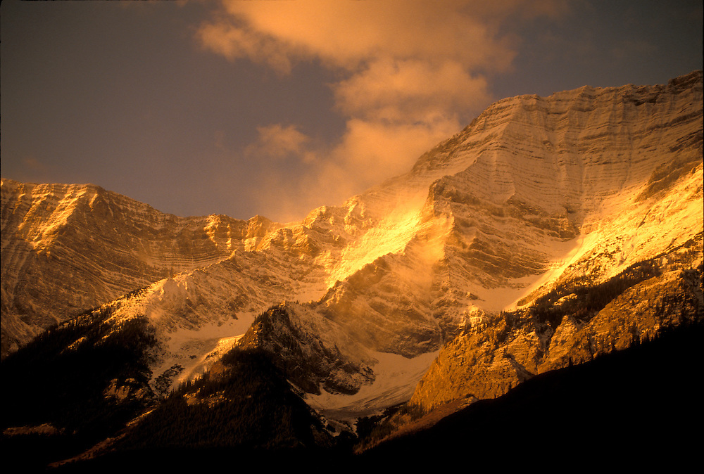 Kananaskis Country, Alberta:  Protected mountains in the Canadian Rockies west of Calgary, at sunset.