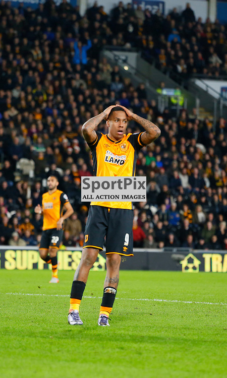 Abel Hernandez can't believe he missed during Hull City v Reading, SkyBet Championship, Wednesday 16th December 2015, KC Stadium, Hull