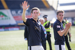 Falkirk's Blair Alston. Players and fans at the end of the game. Kilmarnock 4 v 0 Falkirk, second leg of the Scottish Premiership play-off final.