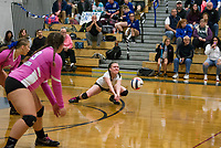 Interlakes Sarah Seeley goes for a dig shot during NHIAA Division III volleyball with Winnisquam Wednesday evening. (Karen Bobotas/for the Laconia Daily Sun)