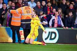 LONDON, ENGLAND - Saturday, February 14, 2015: Liverpool's Adam Lallana celebrates scoring the second goal against Crystal Palace during the FA Cup 5th Round match at Selhurst Park. (Pic by David Rawcliffe/Propaganda)