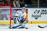 KELOWNA, CANADA - OCTOBER 5:  Griffen Outhouse #30 of the Victoria Royals makes a save against the Kelowna Rockets on October 5, 2018 at Prospera Place in Kelowna, British Columbia, Canada.  (Photo by Marissa Baecker/Shoot the Breeze)  *** Local Caption ***