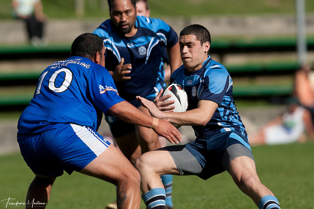 Javaan Fa'amoe-Ioane of He Tauaa Makes a break during the round one Southland District Rugby league match between the Wakatipu Giants and He Tauaa at Queenstown Recreation Ground, Queenstown, New Zealand, Sunday April 01, 2012. Credit:Teaukura Moetaua / Media Sport