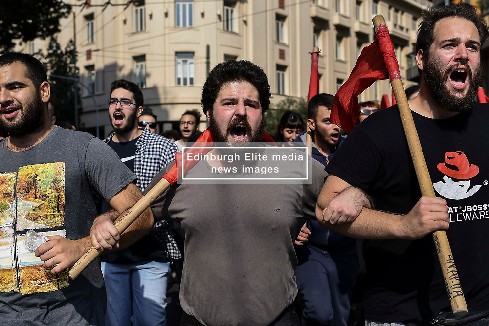 Students shout slogans uring a demonstration to protest against newly announced educational reforms and the lifting of the universities asylum, in Athens, Greece on 17 October 2019.<br /> <br /> <br /> Dimitris Lampropoulos  | EEm date