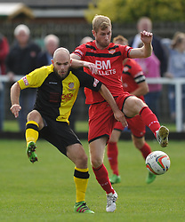 LEWIS TOOMEY CHESHAM UNITED BATTLES WITH KETTERINGS GARY MULLIGAN, Kettering Town v Chesham United FC Evo stick <br /> Southern League Premier, Latimer Park Saturday 23rd September 2017
