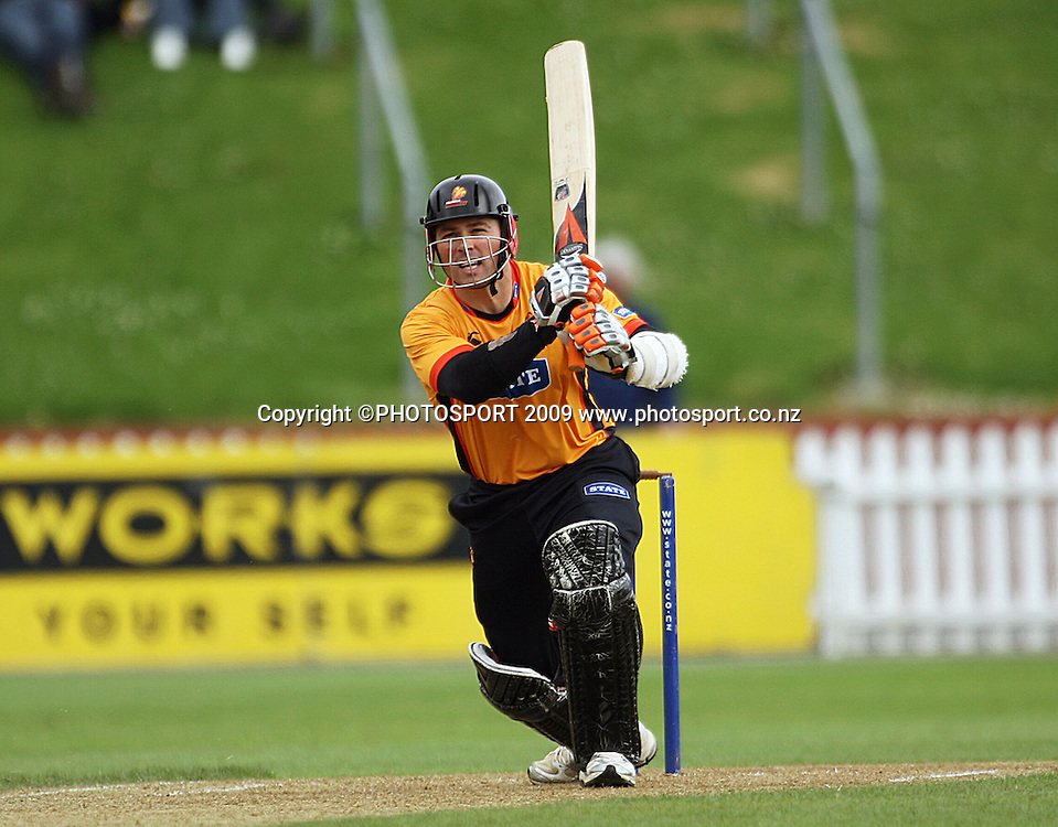 Wellington captain Matthew Bell bats.<br /> State Shield cricket. Wellington Firebirds v Central Stags at Allied Prime Basin Reserve, Wellington. Sunday, 11 January 2009. Photo: Dave Lintott/PHOTOSPORT