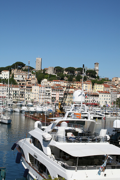 Yachts moored in Cannes harbour, France during the Cannes Film Festival