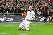 England's Harry Kane celebrates his goal  during the UEFA European 2016 Qualifying match between England and Switzerland at Wembley Stadium, London, England on 8 September 2015. Photo by Shane Healey.