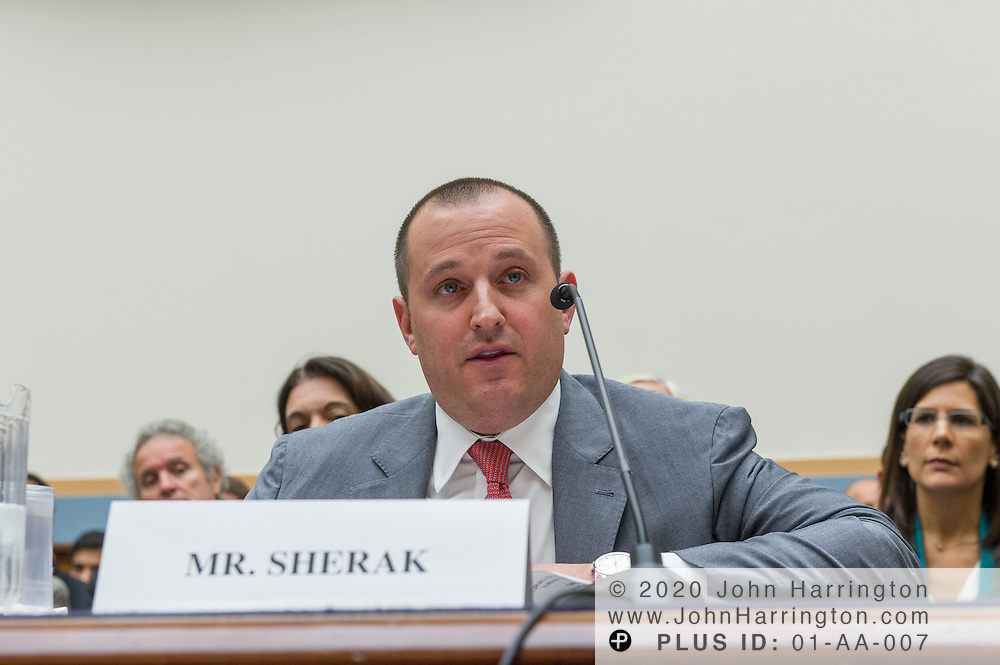 """William Sherak, President, Stereo D, LLC, (center) delivers his testimony as to the U.S. House of Representatives Committee on the Judiciary, Subcommittee on Courts, Intellectual Property and the Internet on the subject """"Innovation in America: The Role of Copyrights"""", Thursday July 25, 2013 on Capitol Hill in Washington DC."""