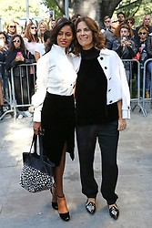 Rula Jebreal, Roberta Armani pose before the fashion show at Armani Theatre during the Milan Fashion Week - Collection 2018 on September 22, 2017 in Milan, Italy. Photo by Marco Piovanotto/Abacapress.com