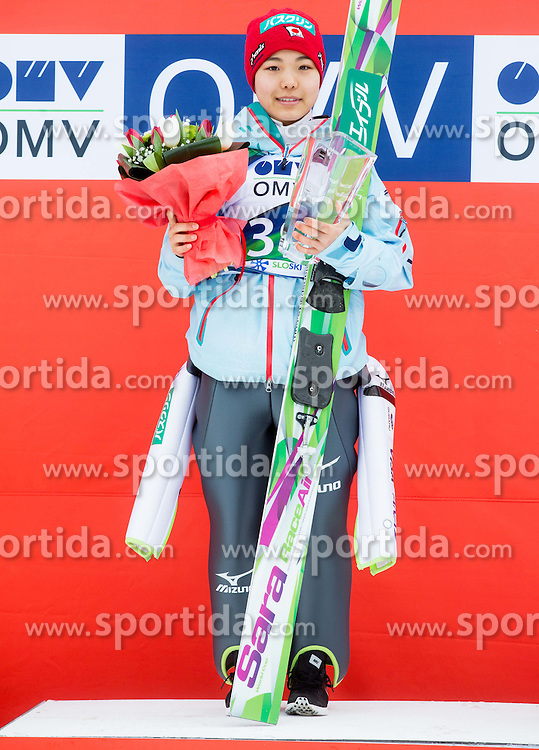 Winner Daniela Iraschko-Stolz (AUT) during Flower ceremony after the Final Round at Day 1 of World Cup Ski Jumping Ladies Ljubno 2015, on February 14, 2015 in Ljubno, Slovenia. Photo by Vid Ponikvar / Sportida