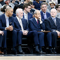 02 April 2017: James Borrego, Ime Udoka, San Antonio Spurs head coach Gregg Popovich, Ettore Messina are seen during the San Antonio Spurs 109-103 victory over the Utah Jazz, at the AT&T Center, San Antonio, Texas, USA.