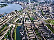 Nederland, Zuid-Holland, Rotterdam, 14-09-2019; Stadsgezicht Rotterdam-Zuid. Entrepotdok, Feijenoord. Binnenhaven met (woon)schepen in de voorgrond, rivier de Nieuwe Maas links.<br /> Cityscape Rotterdam-South. River, district Feijenoord.<br /> <br /> luchtfoto (toeslag op standard tarieven);<br /> aerial photo (additional fee required);<br /> copyright foto/photo Siebe Swart
