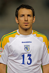 Nicosia, Cyprus - Saturday, October 13, 2007: Cyprus' Chrysostomous Michail lines-up to face Wales during the Group D UEFA Euro 2008 Qualifying match at the New GSP Stadium in Nicosia. (Photo by David Rawcliffe/Propaganda)