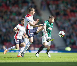 Falkirk's David McCracken and Hibernian's Lewis Stevenson. <br /> half time : Hibernian 0 v 0  Falkirk, William Hill Scottish Cup semi-final, played 18/4/2015 at Hamden Park, Glasgow.