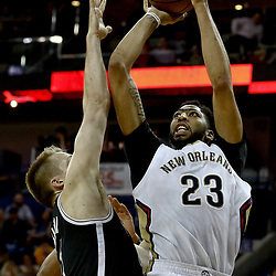 Jan 20, 2017; New Orleans, LA, USA; New Orleans Pelicans forward Anthony Davis (23) shoots over Brooklyn Nets center Justin Hamilton (41) during the second quarter of a game at the Smoothie King Center. Mandatory Credit: Derick E. Hingle-USA TODAY Sports