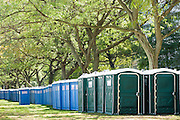 Philadelphia, Pennsylvania - September 16, 2015: Portable toilets line the periphery of Benjamin Franklin Parkway in Philadelphia in preparation for the hoards of people expected to show up for the World Meeting of Families concert and the Pope's visit.<br /> <br /> Scott Mirkin's company ESM is heading the production of The World Meeting Of Families and Pope Francis's visit to Philadelphia this Fall. The events will take place along the Benjamin Franklin Parkway.<br /> <br /> CREDIT: Matt Roth for The New York Times<br /> Assignment ID: 30179397A