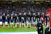 Scotland  team during the national anthem. L-R: Scotland midfielder John McGinn (8) (Aston Villa) Scotland forward Ryan Fraser (11) (AFC Bournemouth) Scotland midfielder Callum McGregor (10) (Celtic) Scotland forward James Forrest (7) (Celtic) Scotland forward Oliver McBurnie (9) (Sheffield United) Scotland midfielder Scott McTominay (6) (Manchester United) Scotland defender Charlie Mulgrew (4) (Wigan Athletic) Scotland defender Stephen O?Donnell (2) (Kilmarnock) Scotland defender Liam Cooper (5) (Leeds United) Scotland goalkeeper David Marshall (1) (Wigan Athletic) Scotland defender Andrew Robertson (3) (Liverpool) during the UEFA European 2020 Qualifier match between Scotland and Russia at Hampden Park, Glasgow, United Kingdom on 6 September 2019.