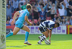 Bristol Winger David Lemi runs in a try - Photo mandatory by-line: Joe Meredith/JMP - Mobile: 07966 386802 - 7/09/14 - SPORT - RUGBY - Bristol - Ashton Gate - Bristol Rugby v Worcester Warriors - The Rugby Championship