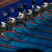 The Start of the Men's 50m Freestyle final won by Cesar Cielo Filho, Brazil in lane six at the World Swimming Championships in Rome on Saturday, August 01, 2009. Photo Tim Clayton.