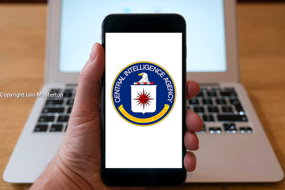 Central Intelligence Agency , CIA, website on iPhone smart phone mobile phone