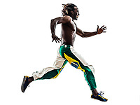 one Brazilian black man running jumping on white background
