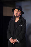 Japanese fashion designer Yohji Yamamoto during the presentation of the Real Madrid's new Champions League kit at the Santiago Bernabeu stadium in Madrid, Spain. May 26, 2013. (ALTERPHOTOS/Victor Blanco)