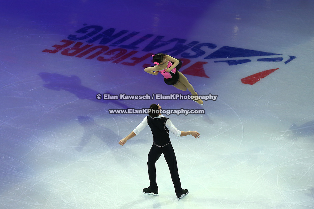 Ai Setoyama and David Botero are seen during the Smucker's Skating Spectacular at the TD Garden on January 12, 2014 in Boston, Massachusetts.