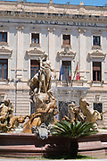 Diana Fountain - Fontana Diana - and Banco di Sicilia - Bank of Sicily - in Piazza Archimedes in Ortigia, Syracuse, Sicily