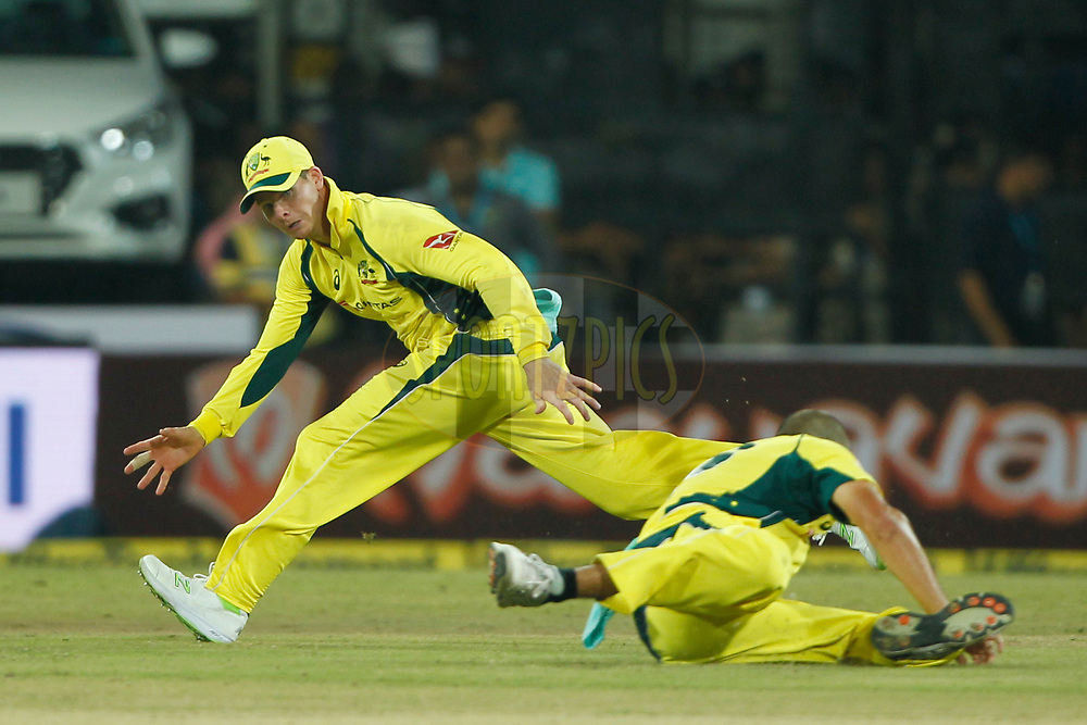Steven Smith captain of Australia tries to stop the ball during the 3rd One Day International between India and Australia held at the Holkar Stadium in Indore on the 24th  September 2017<br /> <br /> Photo by Deepak Malik / BCCI / SPORTZPICS