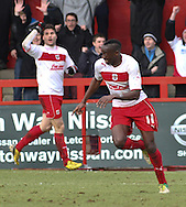 Picture by David Horn/Focus Images Ltd +44 7545 970036.16/03/2013.Lucas Akins of Stevenage (right) celebrates scoring his side's fourth goal during the npower League 1 match at the Lamex Stadium, Stevenage.