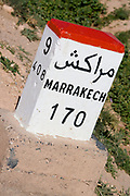 a distance sign for marakech in morocco
