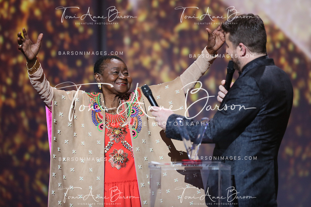 "PARIS, FRANCE - FEBRUARY 10:  Calypso Rose performs during the ""32nd Victoires de la Musique 2017"" at Le Zenith on February 10, 2017 in Paris, France.  (Photo by Tony Barson/FilmMagic)"