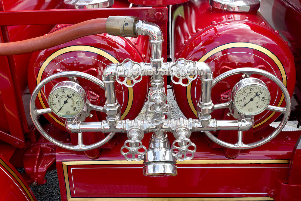 Circleville, New York - Water tanks on an antique fire truck on display at the Catskill Fire Cats 36th Annual Muster on Aug. 4, 2012.